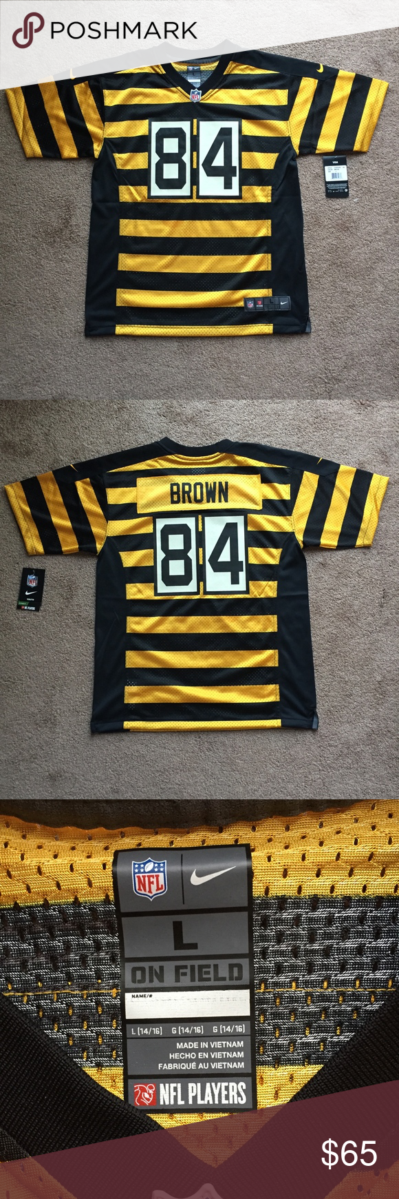 412f7b9f78f Nike NFL Game Jersey Steelers Antonio Brown Large Brand new