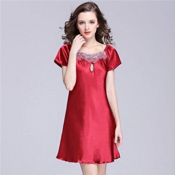 17acb29a04 New Women s Sexy Lingerie Satin Silk Night Dress Plus Size S ~ 4XL Sleepwear  9 Color Lace Nightgown Elegant Summer Dress AP355