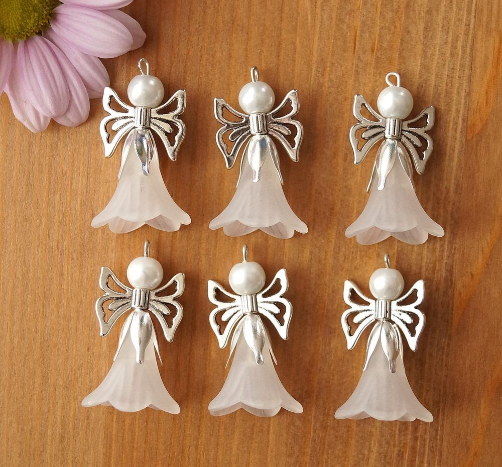 6x Large White Guardian Angel Charms Frosted Flowers