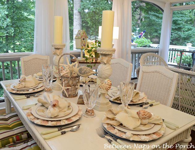 Coastal Table Decor: Shell Chargers For A Coastal Themed Table Setting