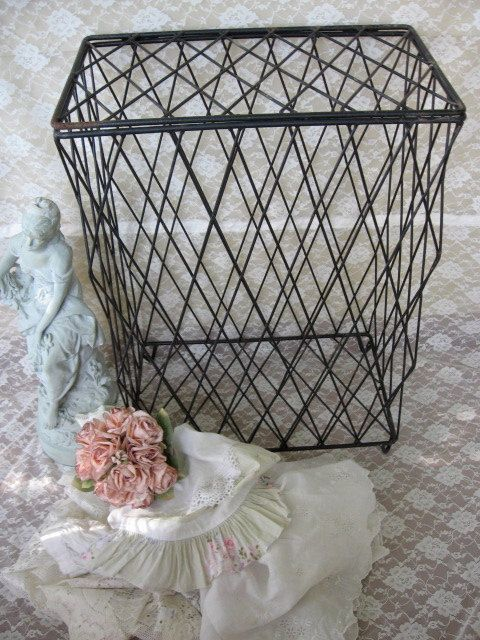 Shabby Chic Laundry Hamper Metal Clothes By Fannypippin 8900