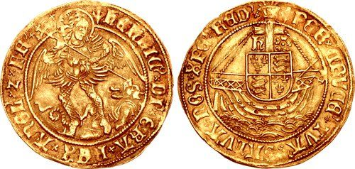 TUDOR. Henry VII. 1485-1509. AV Ange. Archangel Michael slaying dragon to lower right, ship bearing coat-of-arms; above, cross between Һ and roseClass V. Tower (London) mint. Struck 1504-1509.