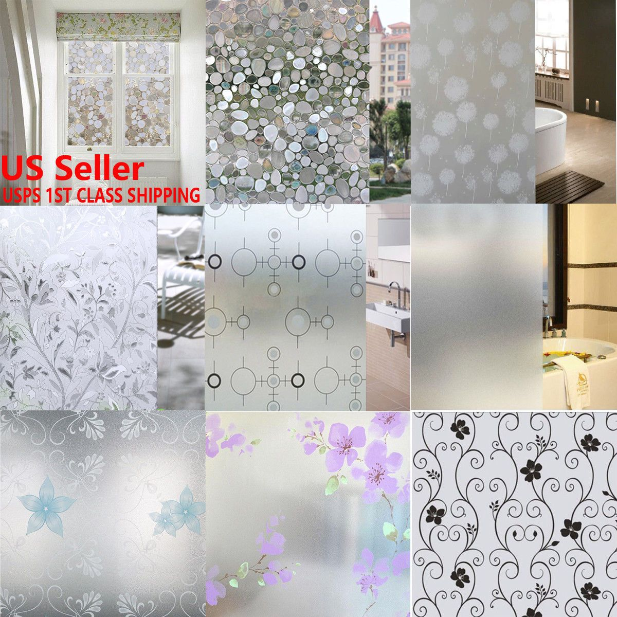 Waterproof Frosted Privacy Home Bathroom Window Glass Self-Adhesive ...