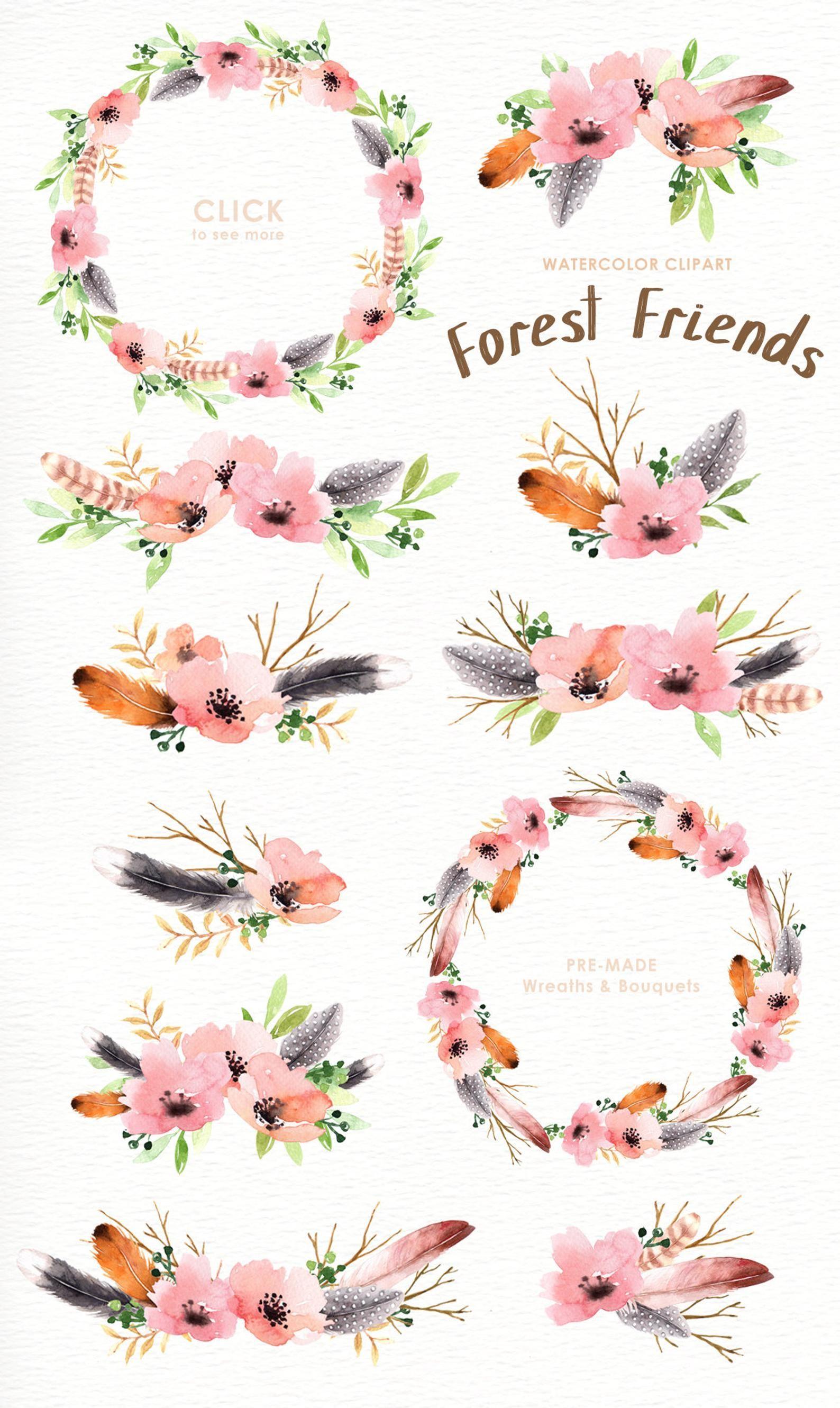 Bosque amigos acuarela Clip Art animales del bosque