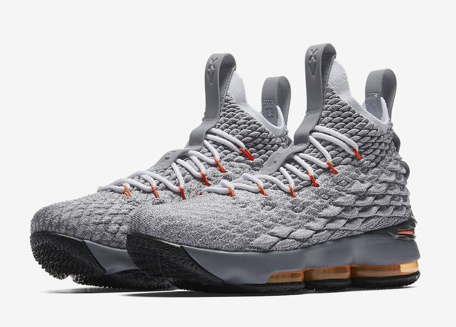 1234b20b97044 Nike LeBron 15 Wolf Grey Safety Orange Release Date - Sneaker Bar Detroit
