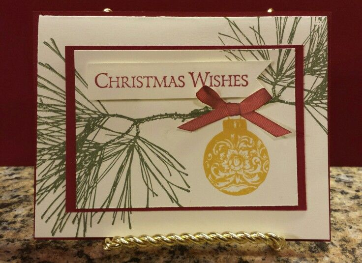 stampin up ornamental pine christmas card idea take a close look at the bow it 39 s not real