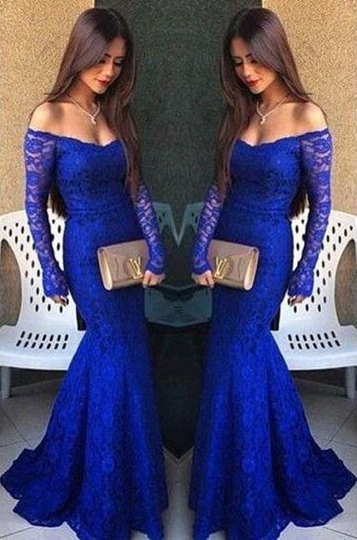 Sexy mermaid long sleeves ruffles prom dresses lace lace prom