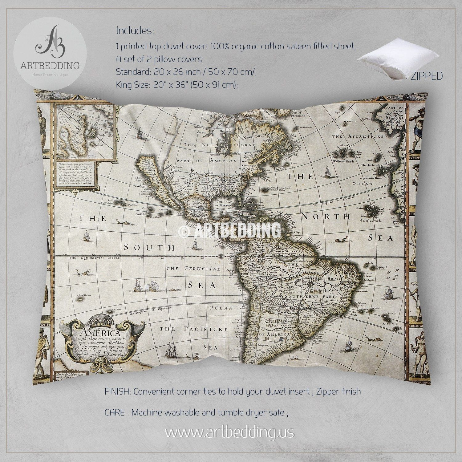 Vintage world map bedding, 1626 Antique Map of North and South ...