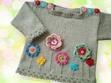 dd90f0ac30bb Babypullover mit Blumen