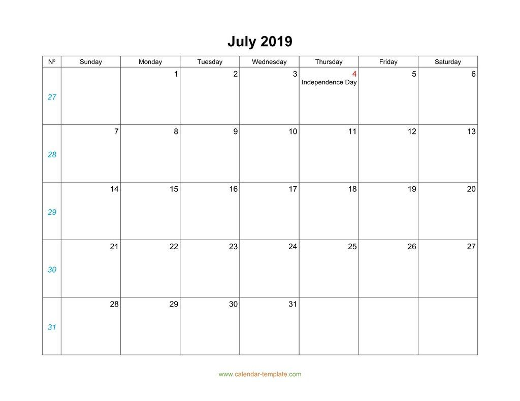 July 2019 Calendar With Holidays July July2019 July2019calendar