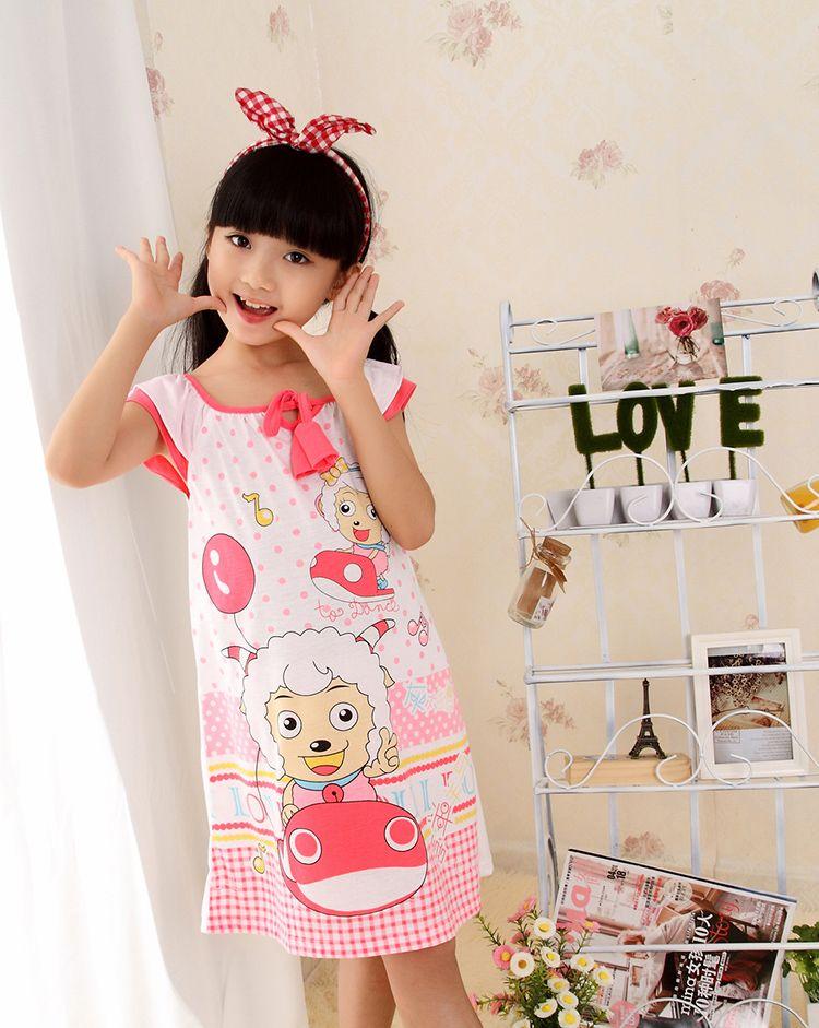 d2e33a7a33 Encontrar Más Camisones Información acerca de Niños del vestido del verano  de algodón de manga corta