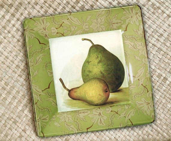 Pear Mothers Day Gift Hanging Plate By Glpaperscizzors Pears Kitchen Decor