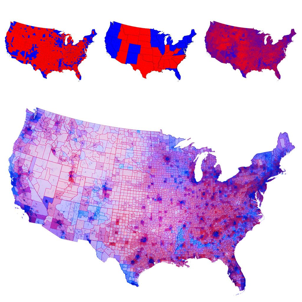 An election results map displaying popular vote hue with a