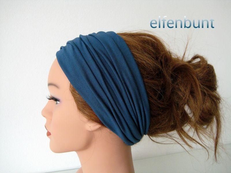 Haarband extrabreit 14 cm petrol von  Maria Elfenbunt auf DaWanda.com