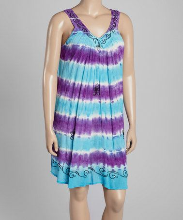 Look at this #zulilyfind! Purple & Turquoise Tie-Dye Stripe Yoke Dress - Plus by India Boutique #zulilyfinds