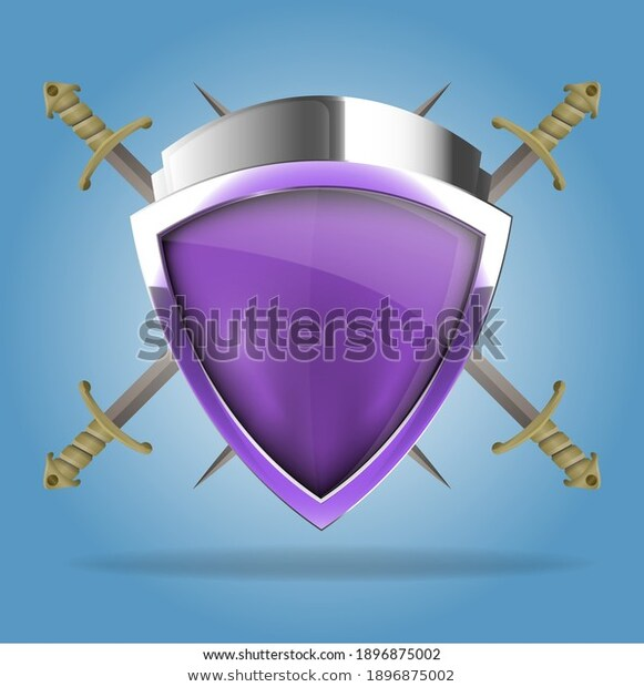 Two Crossed Swords That Behind Shield Stock Vector Royalty Free 1896875002 In 2021 Stock Vector Vector Royalty