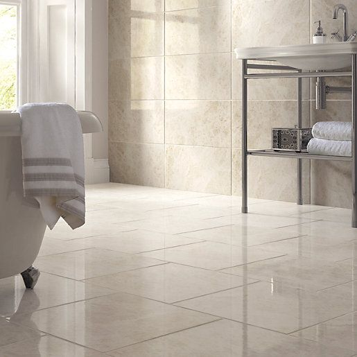 Bathroom Tiles Wickes : Wickes nevada light cream gloss marble effect ceramic wall