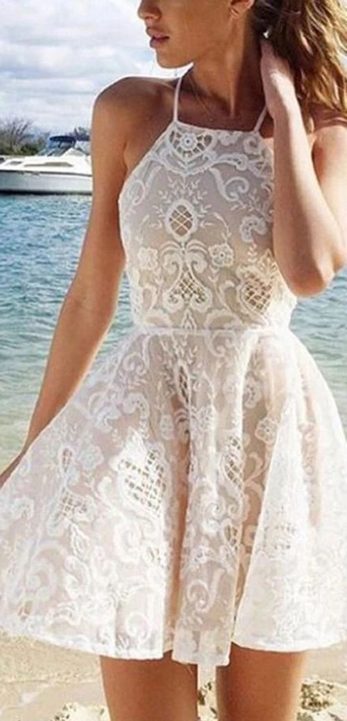 Simple White Halter A-line Short Straps Lace Homecoming Dresses With Pleats, MH110  #lacehomecomingdresses