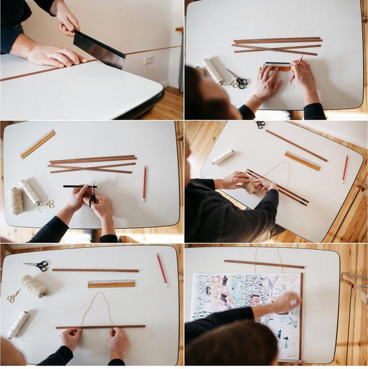 Cómo enmarcar una lámina con listones de madera - Menudos Cuadros ...