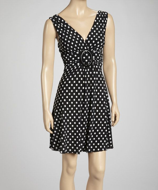 Take a look at this Black & White Polka Dot Sleeveless Dress on zulily today!