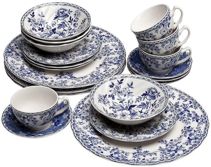 20 Piezas Churchill China Vajilla Color Blanco y Azul