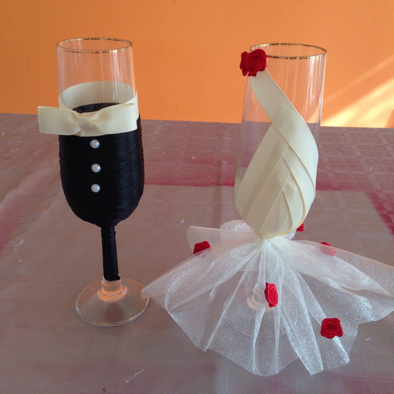 Econ mica y f cil decoraci n para copas de bodas - Decoracion matrimonio ...