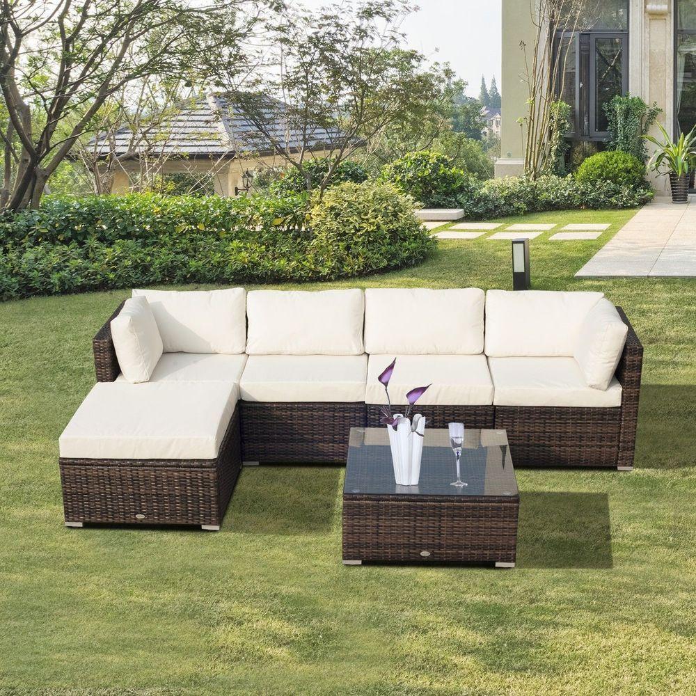 6 Piece Garden Rattan Sofa Set Brown White Cushion Aluminum Outdoor ...