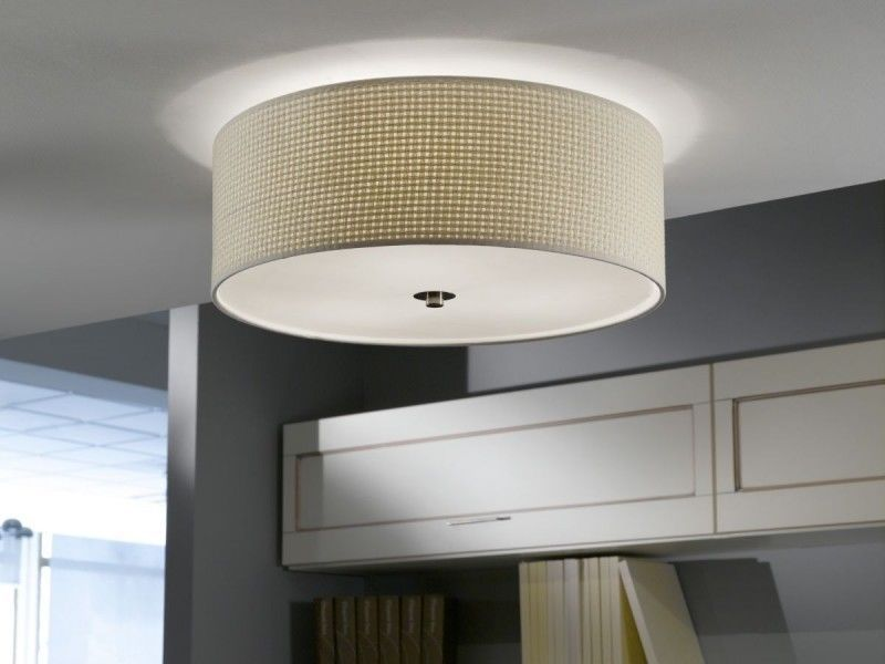 Modern flush ceiling light drum shade fitting with beige cream modern flush ceiling light drum shade fitting with beige cream shade 3 x 60w aloadofball Gallery