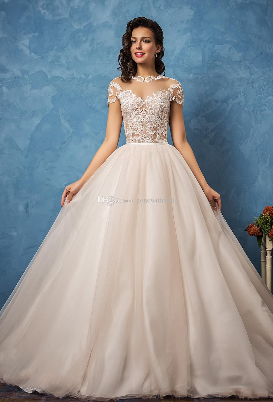Princess Ball Gown Wedding Dresses 2017 Amelia Sposa Bridal Short Sleeves Sheer Bateau Sweetheart Neckline Lace
