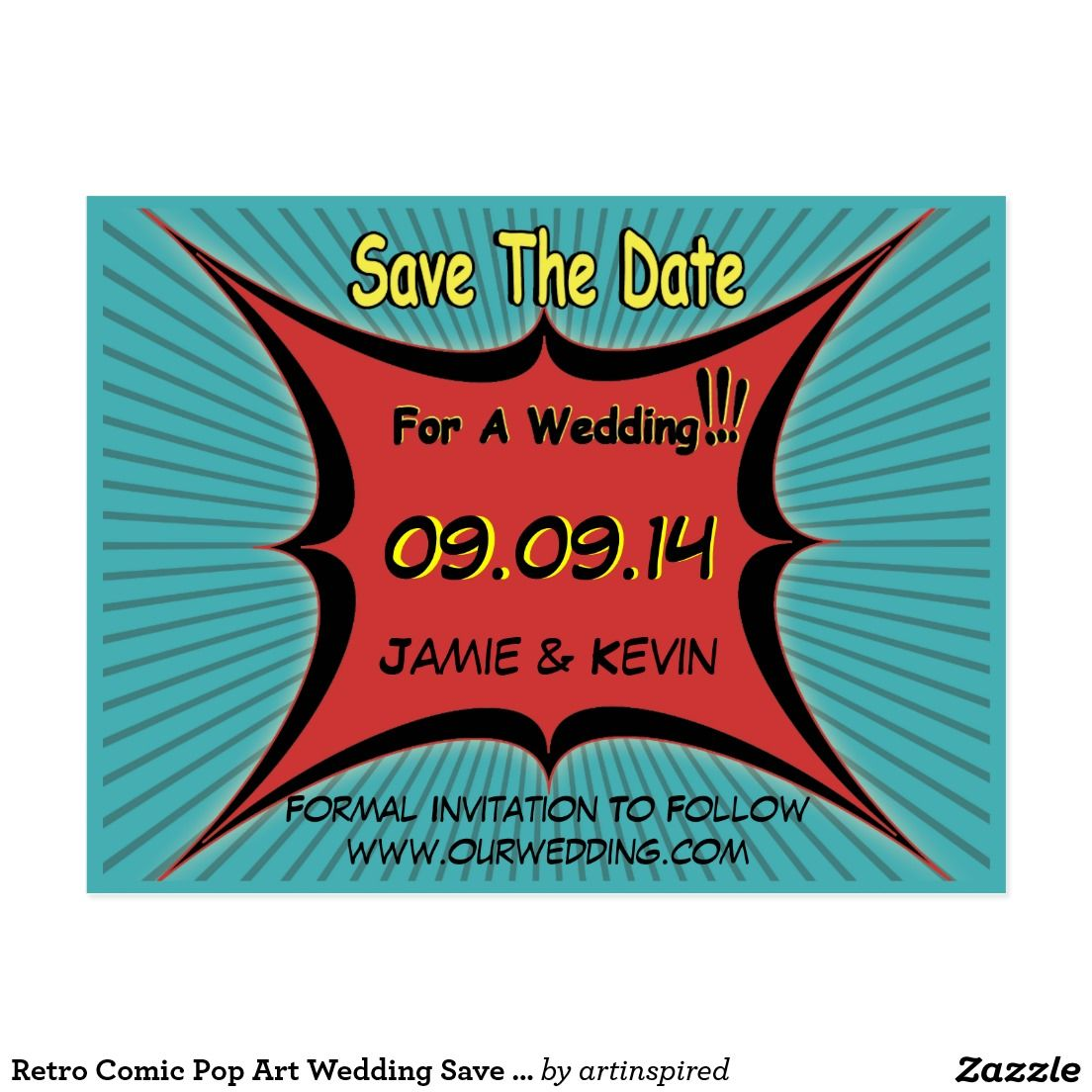 Retro Comic Pop Art Wedding Save The Date Postcard | Wedding ...