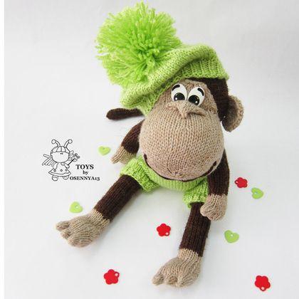 """""""Озорная обезьянка"""" - коричневый,вязание спицами,вязаная игрушка,авторская игрушка"""