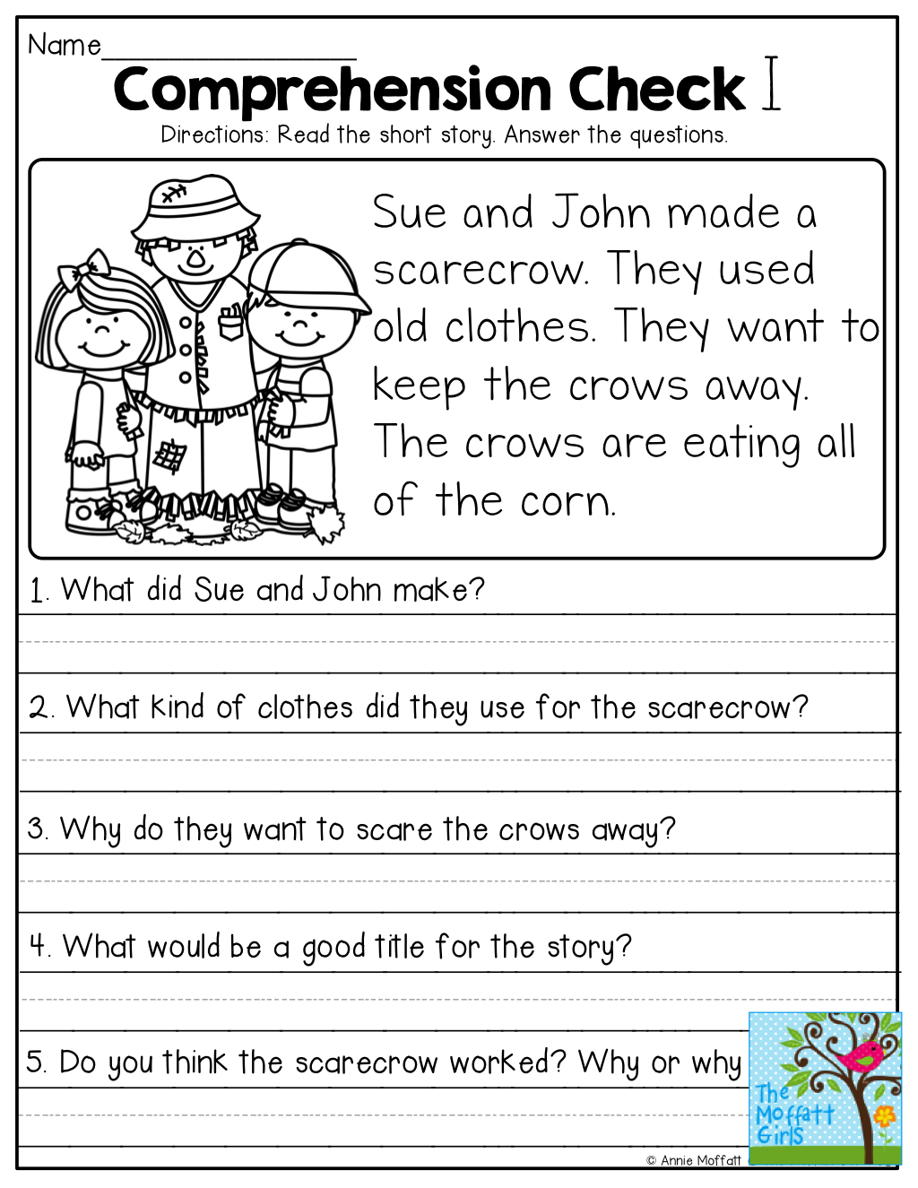 small resolution of Short Stories with comprehension questions!   First grade reading  comprehension