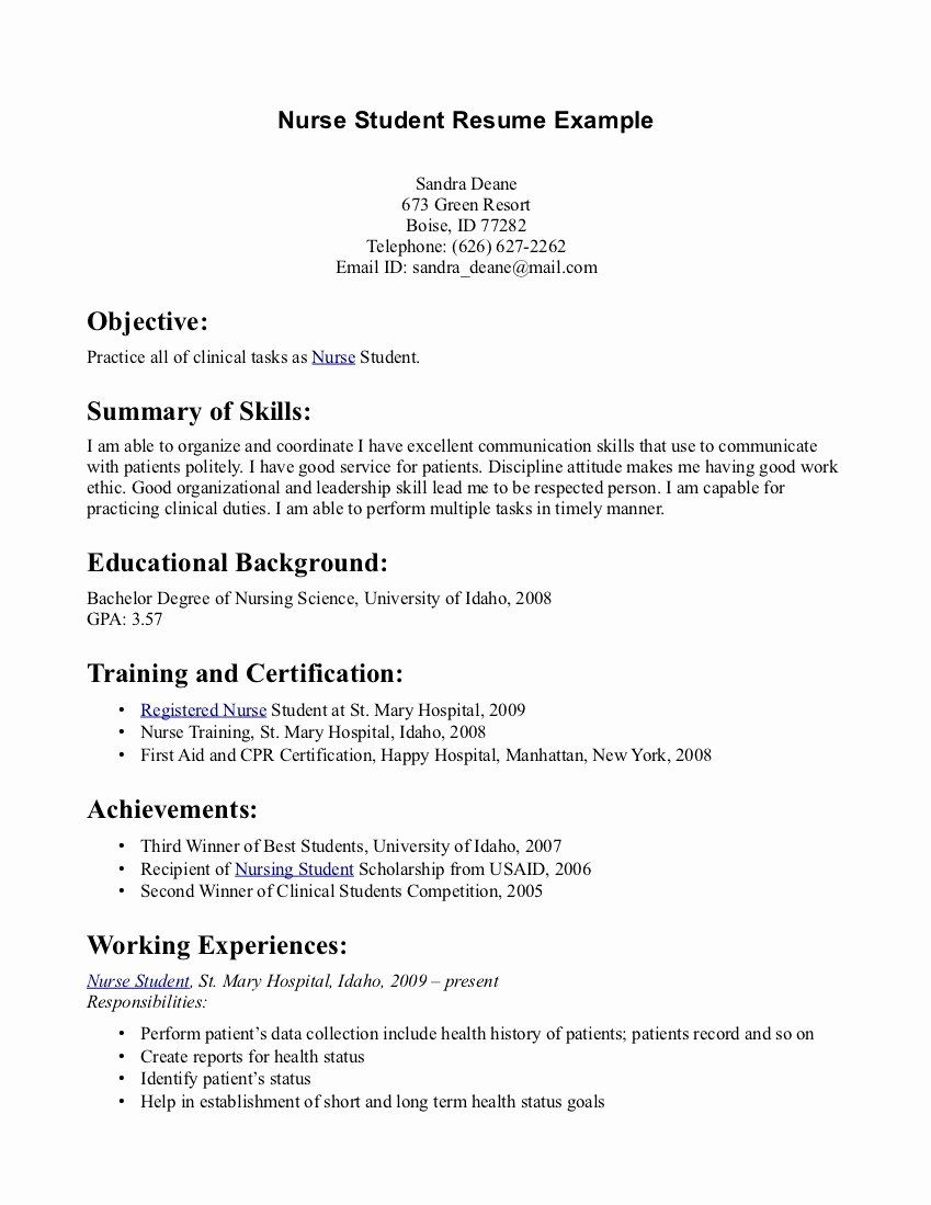 Entry Level Nursing Resume Lovely Student Nurse Resume In 2020