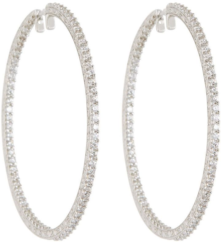 Penny Preville Oval Diamond White Gold Hoop Earrings Ai9FJHHL4