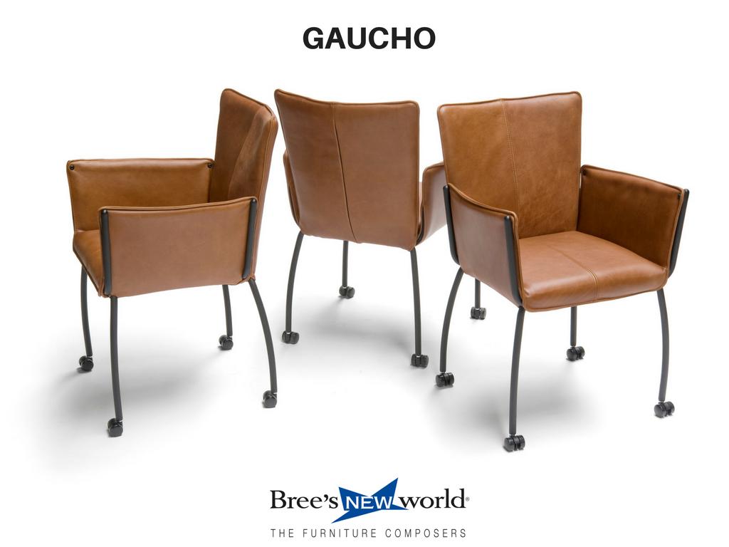 De stoere eetkamerstoel gaucho is nu ook leverbaar op wielen