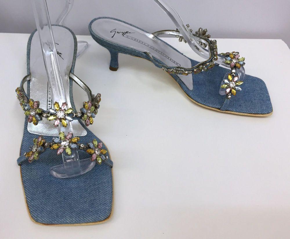 GIUSEPPE ZANOTTI SANDALS SHOES BLUE DENIM CRYSTAL FLOWERS SIZE 5 1/2 B #GiuseppeZanotti #Crystals