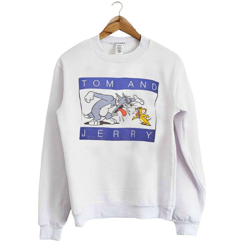 NEW OFFICIAL Tom and Jerry Logo Classic Print White Mens T-Shirt Top