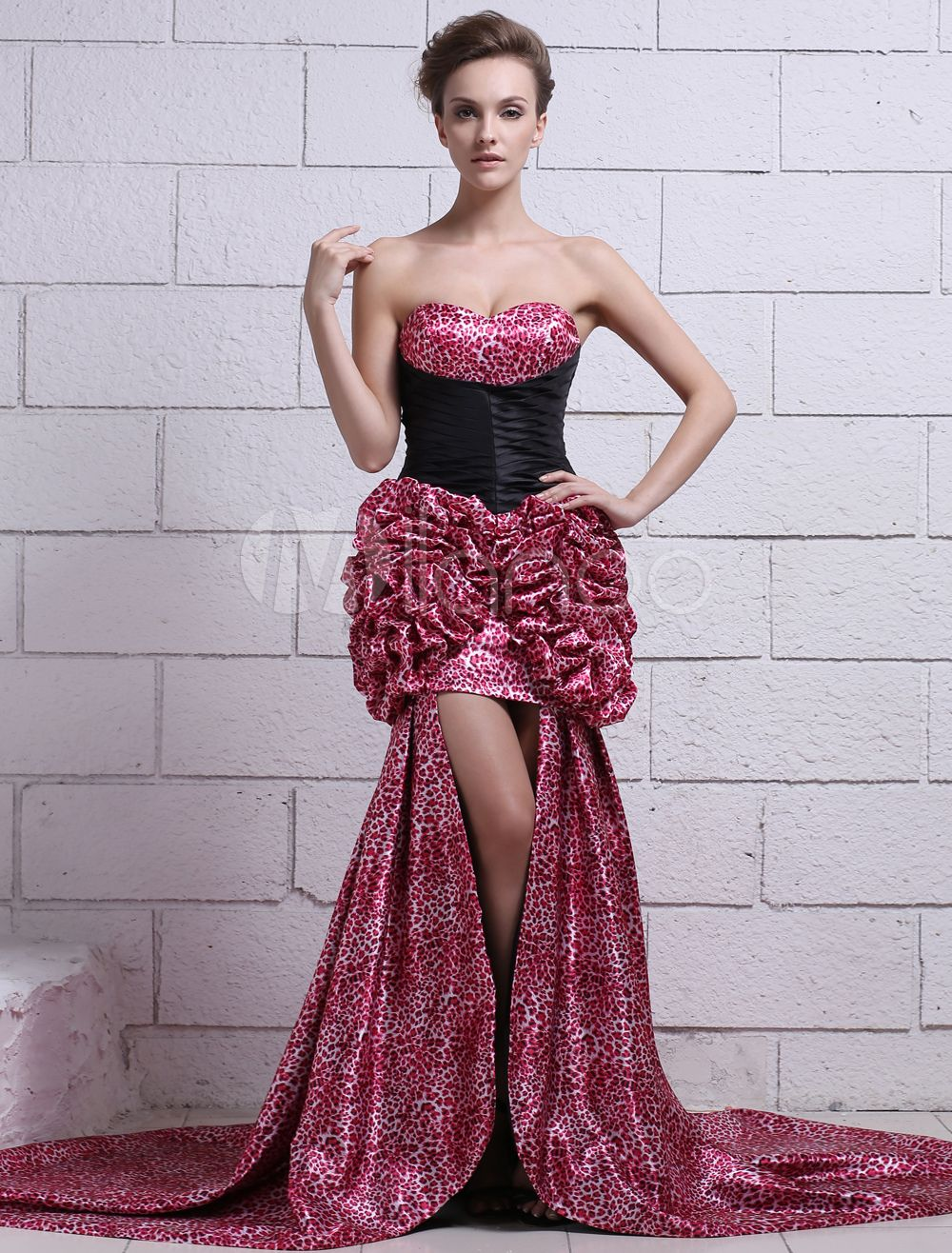ec403363b815 Satin Prom Dress Hot Pink Sweetheart Homecoming Dress Leopard Print  Strapless Slim fit Ruched Party Dress