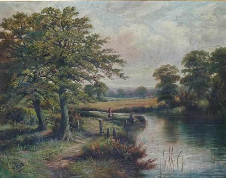 Ben Hold (1839-1917) - a pair, young girl and fishermen on the banks of a river, an extensive evening landscape; and sheep in the meadows, an extensive evening summer landscape, one signed in black lower left, 38cm x 49cm, framed