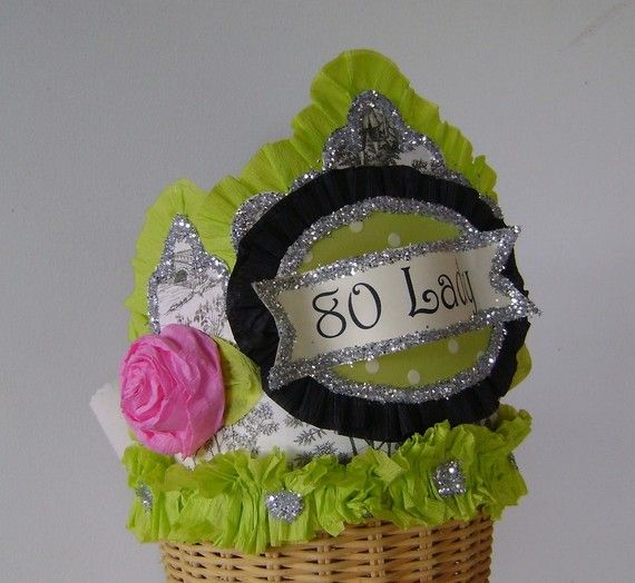 80th Birthday Party Hat Crown Toile Adult Customize