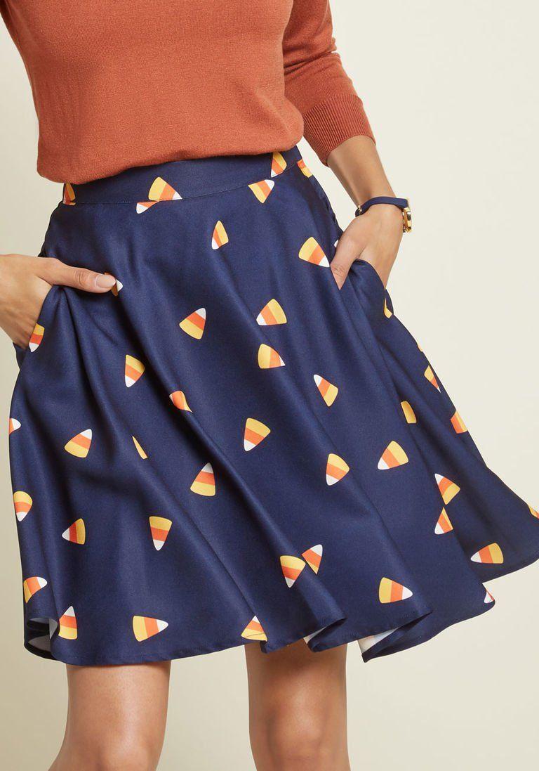 725a05be29 Your Festive Best A-Line Skirt | Teacher Fashion | Blue skirt ...
