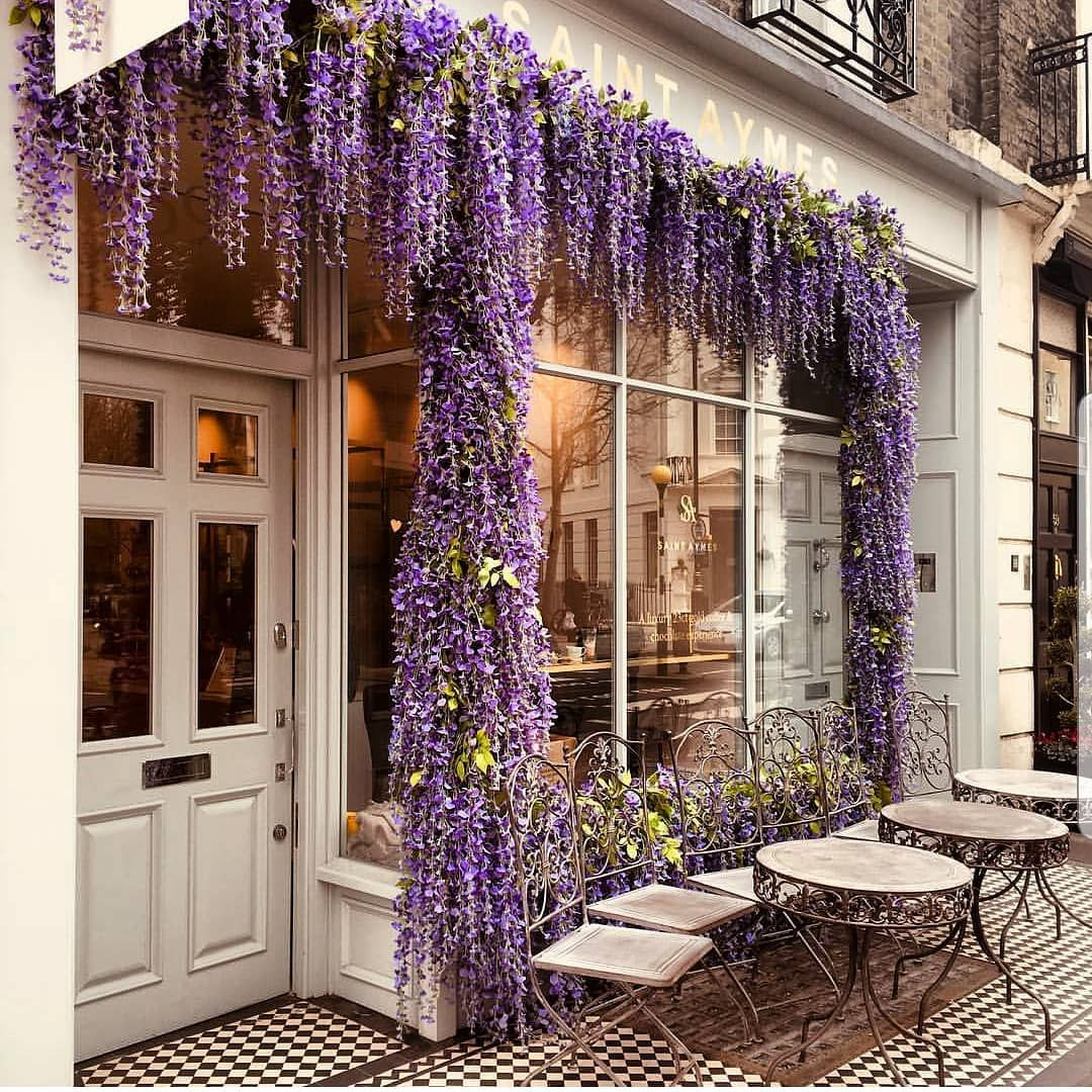 A Life In Color Purple Mora Morado Tbt London Wisteria Flowers Travel Flashback Instago Jetsetter Silk Floral Decor Floral Decor Luxury Flowers