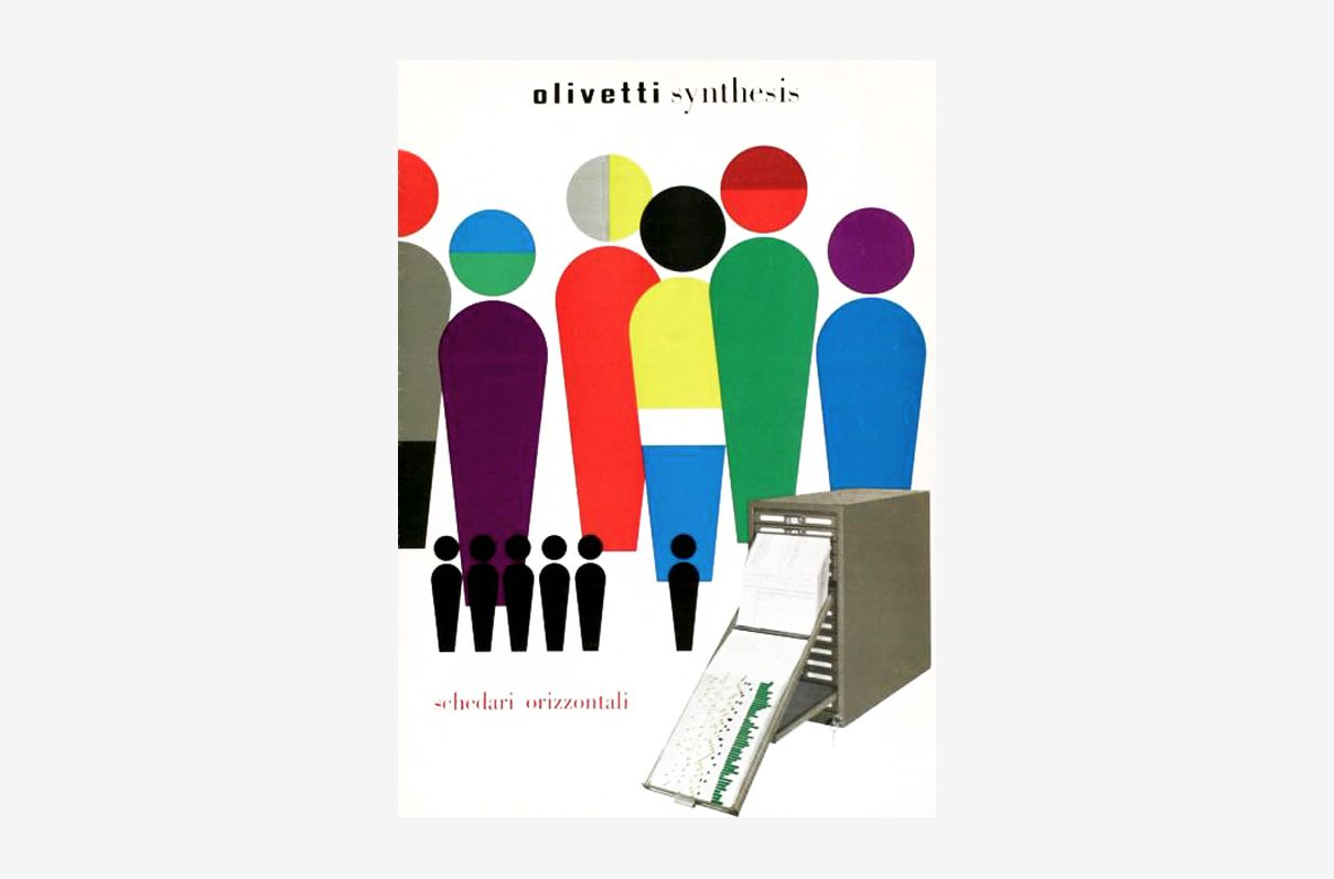 Olivetti Synthesis by Walter Ballmer. 1959, Poster. A poster promoting Olivetti Synthesis' file cabinets. Olivetti Synthesis was a company founded by Adriano Olivetti in 1939 which continued to operate until the 1990s. Printed by Industrie Grafiche Nicola Moneta, Milan.
