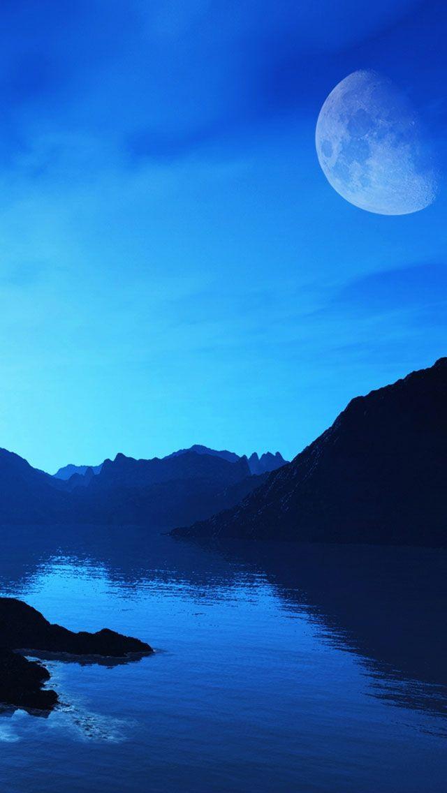 Amazing Blue Landscape Iphone Wallpapers Landscape Iphone 5 Wallpaper Moonlit Sky