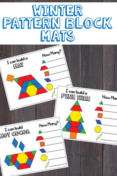 Winter Pattern Blocks Mats Kindergarten Math Activities