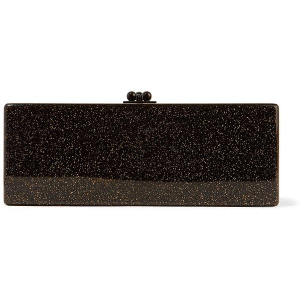 Edie Parker Flavia glittered acrylic box clutch ($535) via Polyvore featuring bags, handbags, clutches, black, edie parker handbags, acrylic box clutch, clasp handbag, edie parker clutches and hard clutch