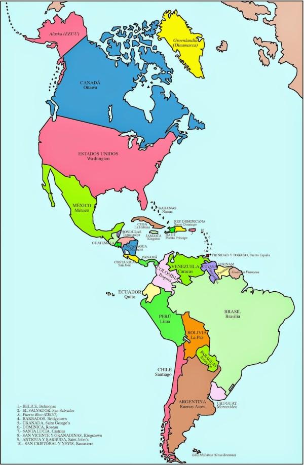 Mapa Político America Locuraviajes Com Mapa De America Imágenes De Mapas Geografía Para Niños
