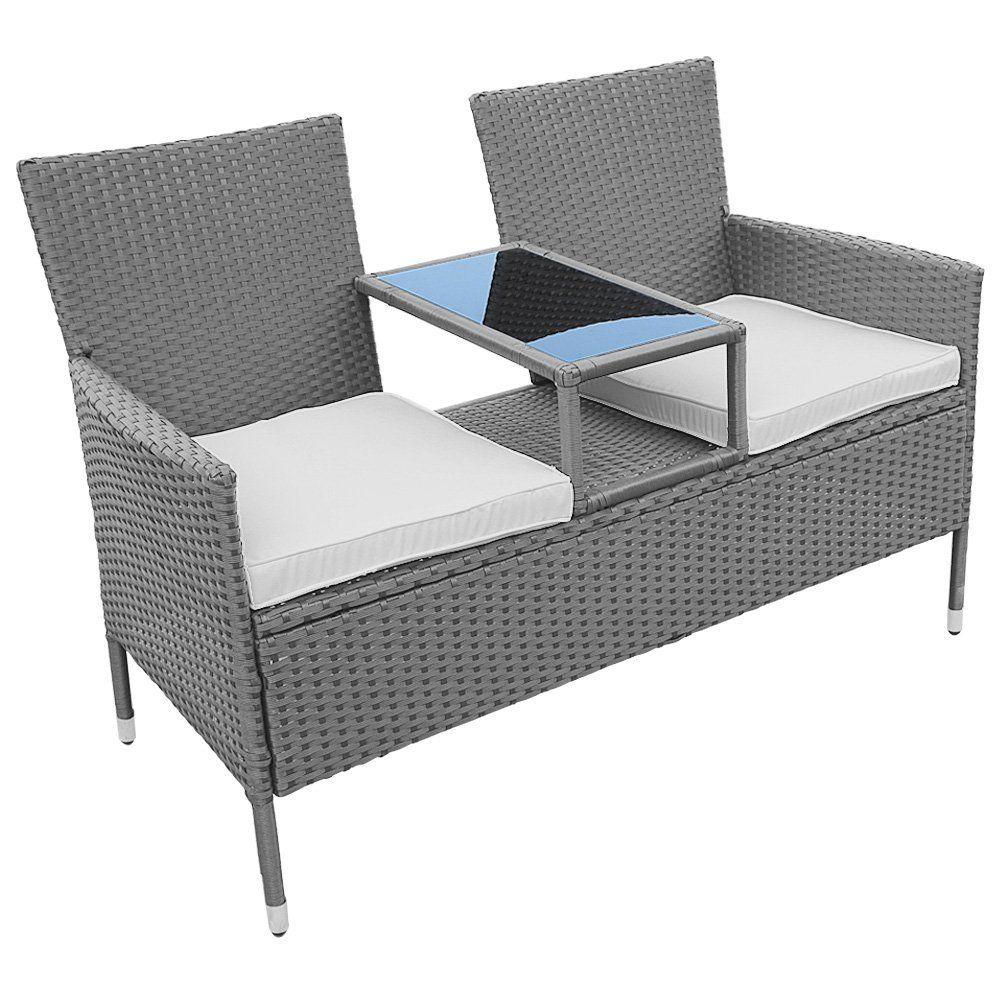 vidaXL Gartensofa 2-Sitzer Poly Rattan Gartenm/öbel Lounge Gartenbank Sofa