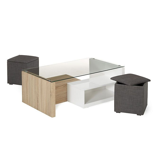 vivo table basse avec 2 niches de rangement et 2 poufs coffre salons poufs and tables. Black Bedroom Furniture Sets. Home Design Ideas