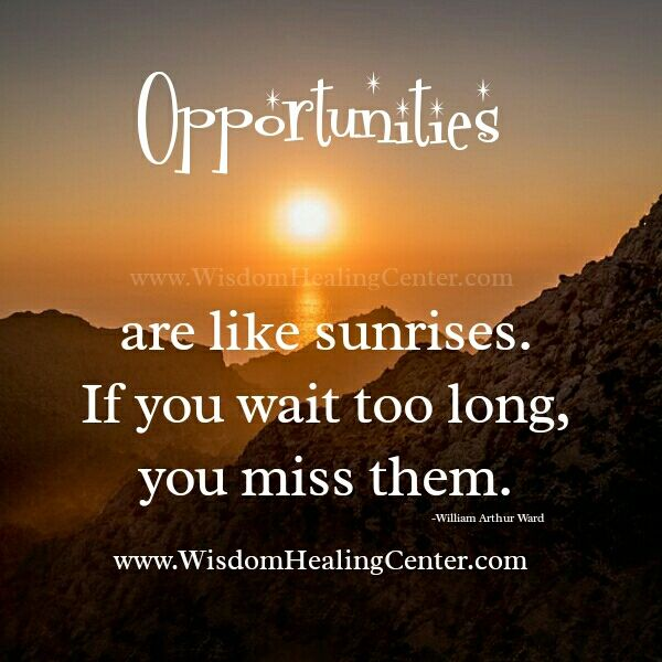 Opportunities Are Like Sunrises If You Wait Too Long You Miss